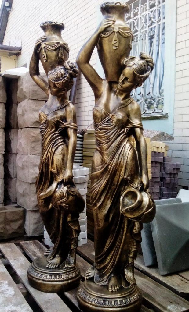 статуя Девушка с кувшинами золото+черный