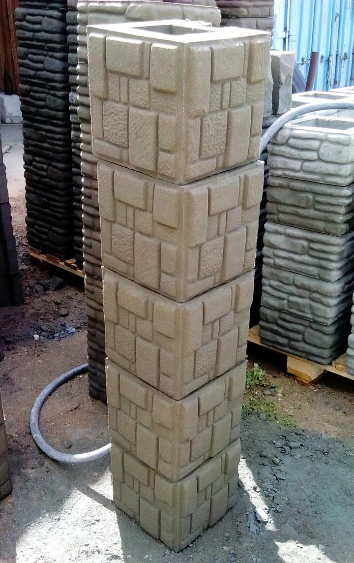 Заборный блок столбовой Мозаика