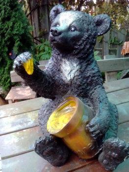 Фигурка Медведя с медом и Медведя с кадкой для сада и дачи