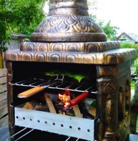 Печь мангал из бетона для дачи и загородного дома