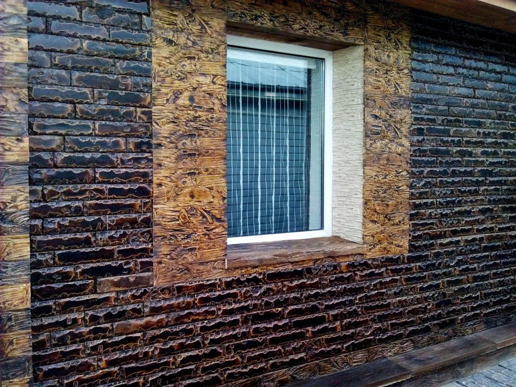 древесный скол фасад