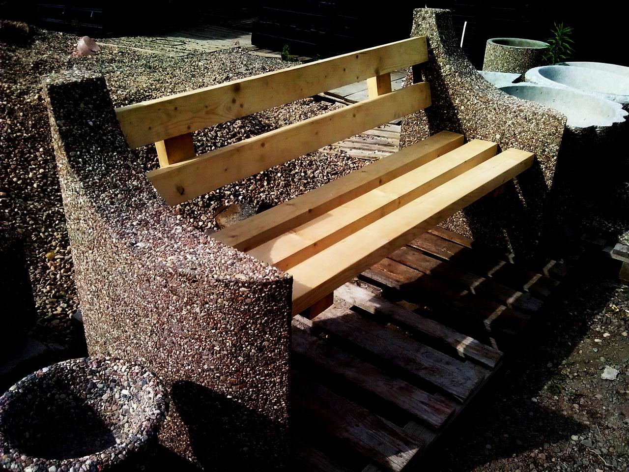 скамейка мытый бетон и дерево